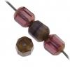Fire polished 6mm Lantern Mix Amethyst Bronze Violet Travertine